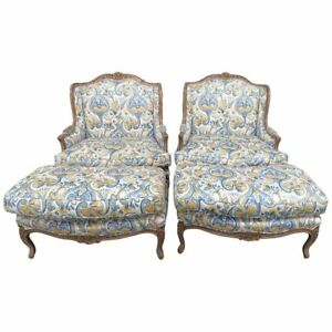 Pair Of Country French Style Wingback Chairs And Ottomans