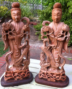 Chinese Terracotta Figures Of Guan Yin Kwan Yin Pair 1920