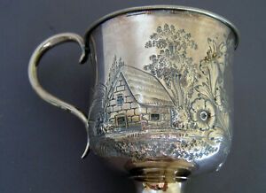 Sterling Silver Footed Cup House Mountains Trees Christening Cup