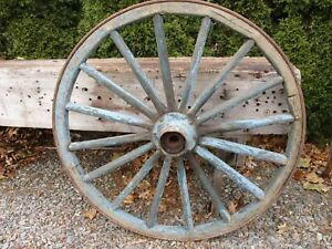 Antique Country Blue Wagon Wheel Large 44 Dia 89 Lbs Original Paint