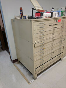 Vintage Hamilton 15 Drawer Steel Flat File Cabinet Beige W Base