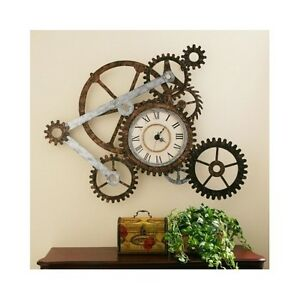 Rustic Gear Wall Clock Metal Art Home Decor Vintage Industrial Style Timepiece