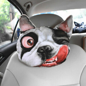Cute 3d Sharpei Dog Face Car Headrest Car Neck Rest Cushion Headrest Pillow Mat
