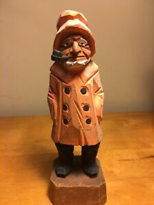 Vintage Hand Carved Fisherman Wood Figure Statue Carving Nautical Sea