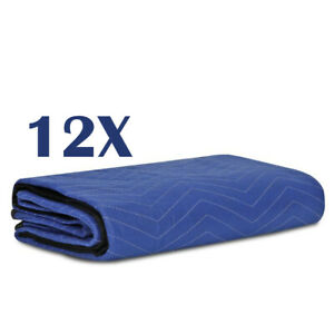 12 Moving Blankets Mats Deluxe Pro 35lb dz Quilted Shipping Furniture Pads