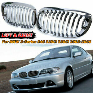 Chrome Front Kidney Grille Grill For Bmw E46 3 series 325ci 330ci 2dr 2003 2006