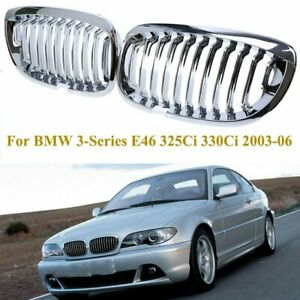 Chrome Front Kidney Grille Grill For 2003 2006 Bmw E46 3 Series 325ci 330ci 2drs