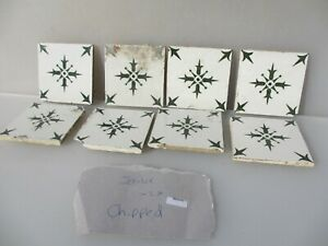 Vintage French Ceramic Tile Floral Flower Fleur Antique Old Chipped Damged X29