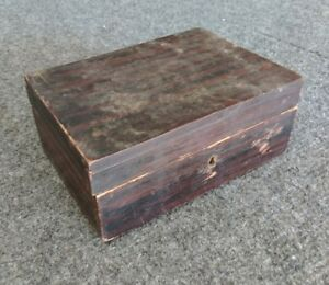 Antique Rosewood Veneer Over Pine Small Trinket Box W Mirror Distressed No Key