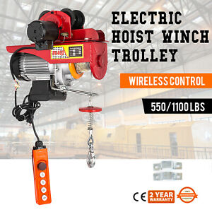 Electric Wire Rope Hoist W Trolley 40ft 550 1100lb Resistant 1000w Brand New
