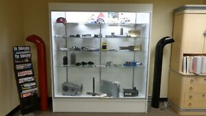 Large Lighted Display Case W Glass Shelves