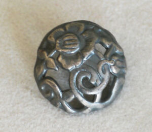 Antique Domed Filigree White Metal Pewter Floral Button 13 16