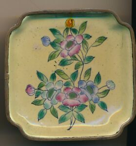 Antique Chinese Square Enamel Flower Metal Pin Or Condiment Dish