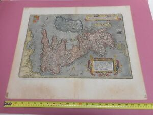 100 Original Large Great Britain Map By A Ortelius C1614 Hand Coloured Scarce