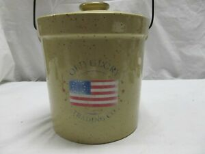 Crock With Metal Bale And Lid Old Glory Houston Texas 2qt