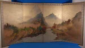 Vintage Japanese Original Painting On Silk 4 Panel Folding Screen Byobu