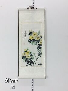 Feng Shui Chrysanthemum Chinese Water Color Hand Painting Paper Scroll Silk 28