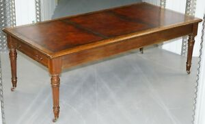 Huge Restored Victorian Refectory Library Dining Table Brown Leather Top Gillows