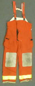 38x34 Globe Red Pants With Suspenders Firefighter Turnout Bunker Fire Gear P966
