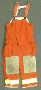 36x28 Globe Red Pants With Suspenders Firefighter Turnout Bunker Fire Gear P964