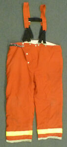 48x30 Globe Red Pants With Suspenders Firefighter Turnout Fire Bunker Gear P972