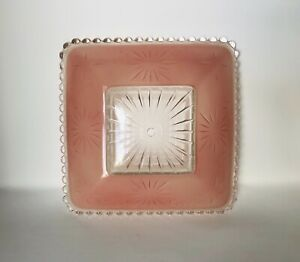 Pink Art Deco Glass Ceiling Light Fixture Cover Starburst Vintage Mid Century
