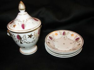 Antique 18thc Neo Classical Porcelain Covered Bowl Face Handles