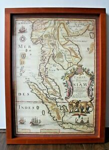 Large Vintage Map Of Siam Thailand In Chunky Solid Wood Frame 26 5 X 19 5