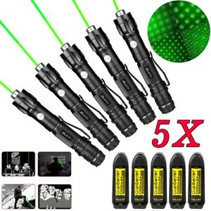 5pcs 532nm 1mw Green Laser Pointer Pen Visible Beam Light 18650 Battery charger