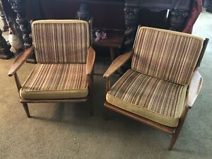 Pair Of Mid Century Danish Modern Conant Ball Russell Wright Lounge Chairs