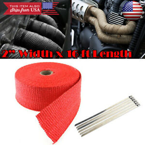 2 15 Ft Exhaust Header Downpipe Pipe Red Heat Wrap 6 Ties For Mercedes Smart