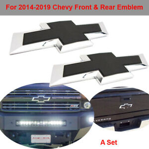 Black Front Tailgate Bowtie Emblem Set For 2016 2019 Gm Chevy Silverado 1500