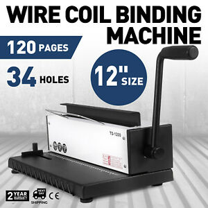 All Steel Manual Spiral Coil Binding Machine 34 Holes Puncher Office 110v
