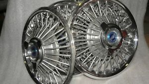 Barn Find Vintage Ford 3 Bar Spinner 14 Wire Hub Cap Wheel Covers