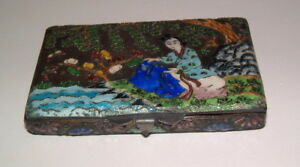 Antique Asian Enamel Scenic Figural Cigarette Or Card Case Detailed