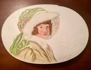 Beautiful Handpainted Lady Portrait Wood Shaker Style Solid Wooden Box