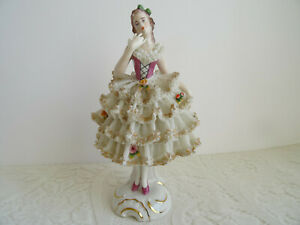 Dresden Figurine Antique Vtg Large Dresden Porcelain Lace Figurine Germany