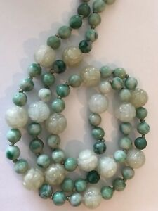 Vintage Hand Carved Jade Shou Bead Necklace Chinese