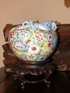 Antiquechinamillefleurs Porcelain Brushpot Dragon Bat 5 Tall3 Opening Collect