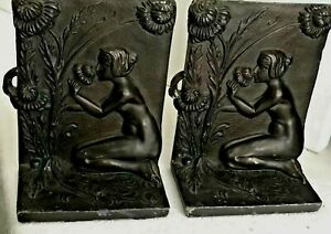 Rare Antique Nude Woman Flowers Bronzed Bookends