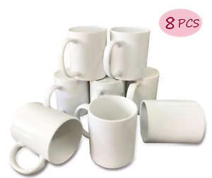 Bosstop 8pcs 11oz Sublimation Mug Coated Ceramic Mugs White Sublimation Blanks