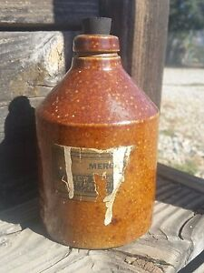 Early Antique Brown Salt Glaze Stoneware Mercury Bottle