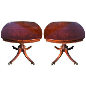 Pair Of Antique Neoclassical Burl Mahogany Carved End Tables By Imperial