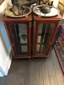 Antique Vintage Glass Retail Vitrine Display Cabinets With Light Pair Set