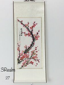 Plum Blossom Chinese Hand Painting Paper Scroll Silk 28 11