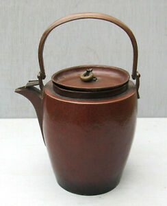Scarce Antique Hand Hammered Copper Arts Crafts Small Tea Water Kettle