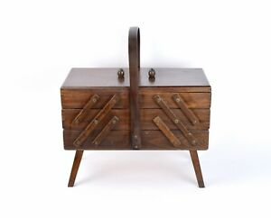 Vintage Mid Century Modern Folding Tiered Sewing Supply Box