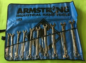 Armstrong 10 Pc Metric Long Combination 6 Point Wrench Set Full Polish 10mm 19mm