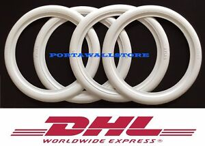 White Band Port A Wall Topper Tire Insert Trim Set 4 Fits 13 Steel Wheel 04