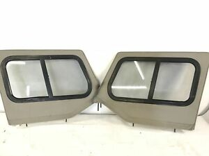 87 95 Jeep Wrangler Upper Door Glass Sliders Tan Use With Factory Soft Top Yj